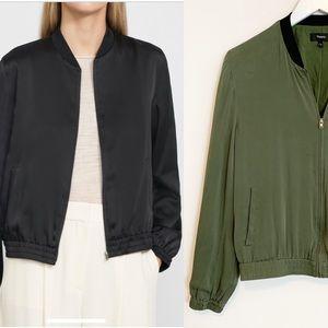 BOGO! Theory Silk Baharah Army Green Bomber Jacket